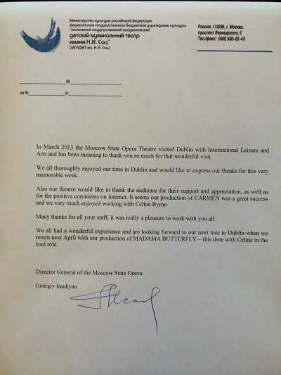 Moscow State Opera Letter