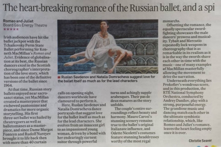 Romeo and Juliet Review in Irish Times